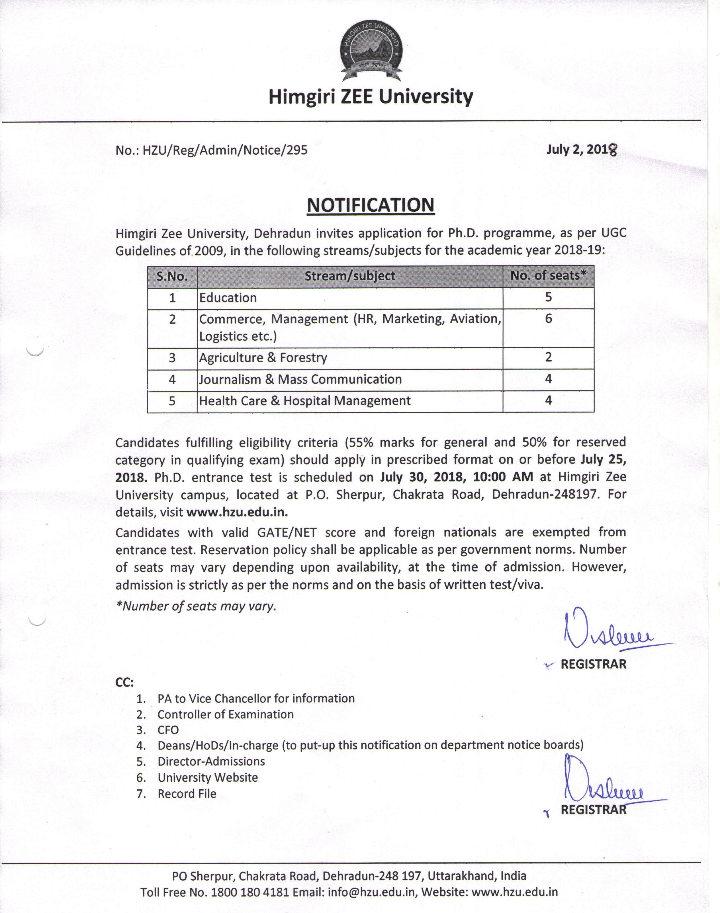 Exam Results, Exam Notification and Timetable   Himgiri Zee