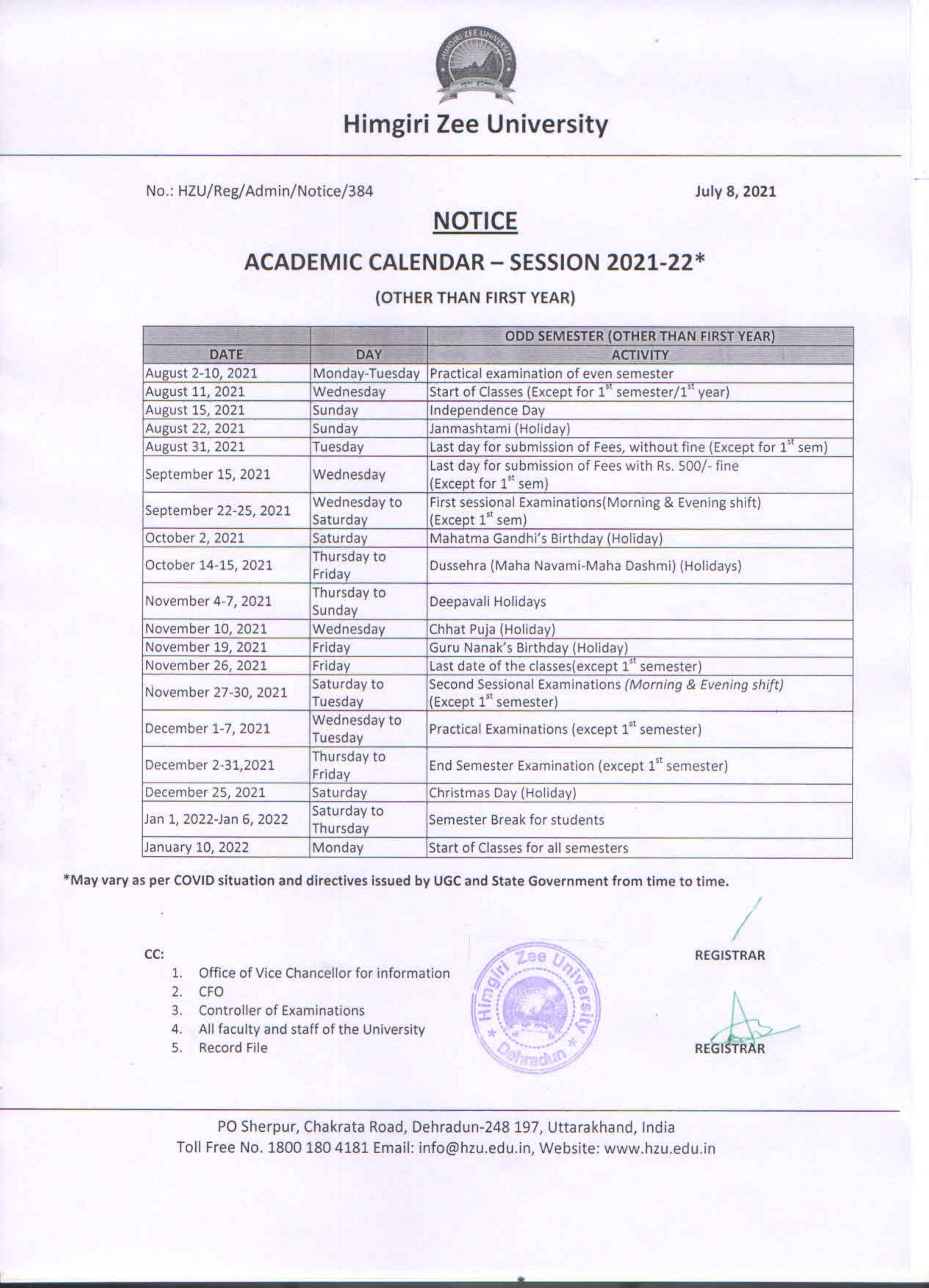 Uncg Academic Calendar Fall 2022.Academic Calender Himigiri Zee University